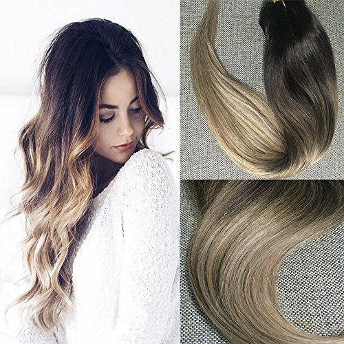 Full Shine 20'' 140g 10 Piece Human Clip in Extensions Full Set Hair Extensions Ombre Brazilian Straight Hair Extensions Balayage Extensions Color #2 Fading to Color #6#18 Ash Blonde Hair Extensions by Full Shine