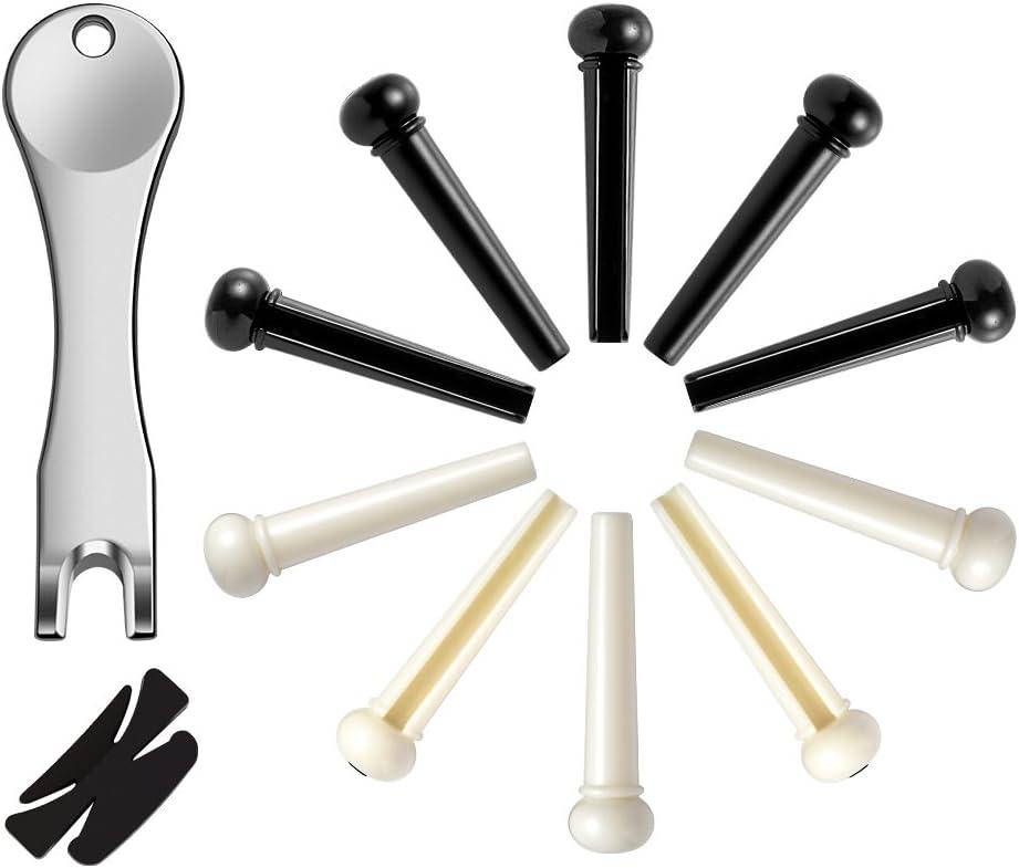 Asiv 14Pcs Puentes de puente de guitarra acústica Clavijas con puente de pin Pull Remover y caucho Pick titular (negro y blanco crema)