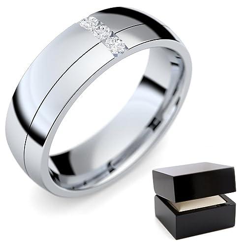 Anillo Alianzas De Matrimonio (/Mujer Plata 925 Diamante Brillant 0,06 Carat TW