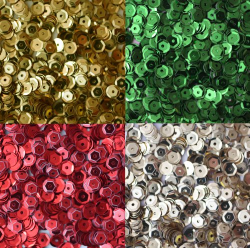 (Sequin Christmas Pack ~ 5mm cup facet loose sequins : Red Green Silver Gold ~ Xmas ~ For embroidery, costumes, applique, arts, crafts, and embellishment. Made in USA)