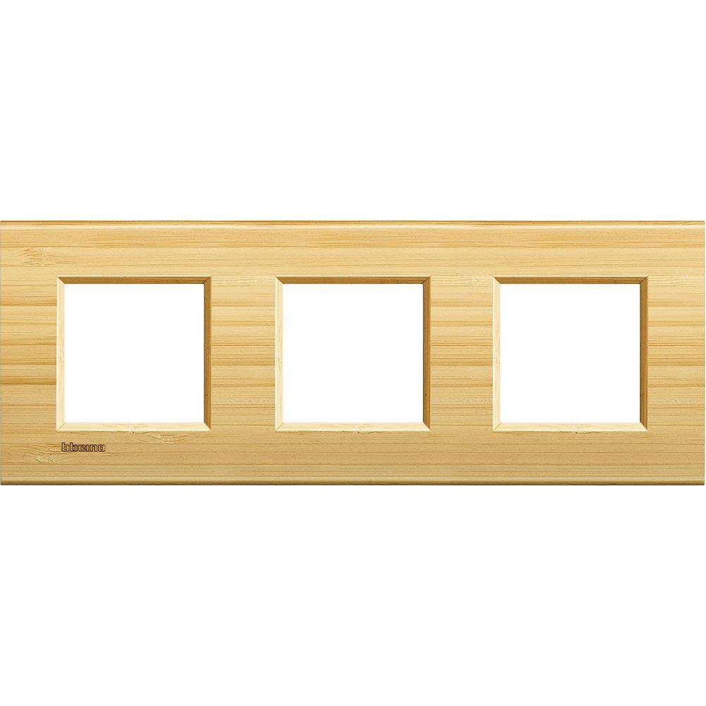 Placa 2+2+2 m/ódulos bambu Bticino livinglight