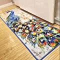 TideTex Fahion Creative Art Living Room Area Rug Rural Style Painting Peacock Pattern Design Floor Rug Bedside Rugs Kids Bedroom Carpet Unique Non-slip Rugs