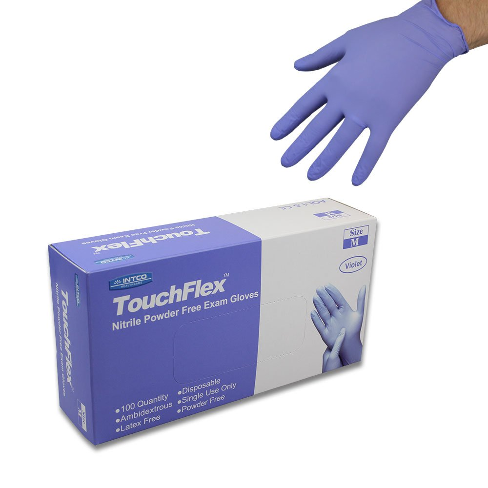 Disposable Violet (Light Purple) Nitrile Gloves - Latex & Powder Free - Boxed x100 (Extra Large) Intco GL56XL