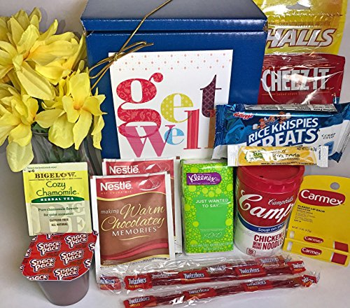 Get Well Gift Box Basket - For Cold / Flu / Illness - Over 2.5 Pounds of Care, Concern, and Love in This Care Package - Send a Smile Today! (Send A Gift Basket Today)