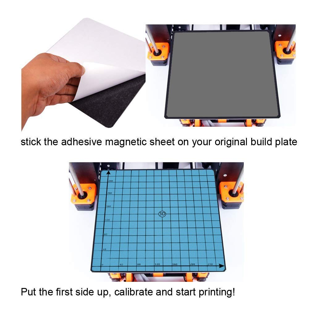310x310mm HWA KUNG 3D Printing Build Surface Flexible Magnetic Build Platform Two-Layer Magnetic Hot Bed Sticker for 3D Printer 12.2 x 12.2