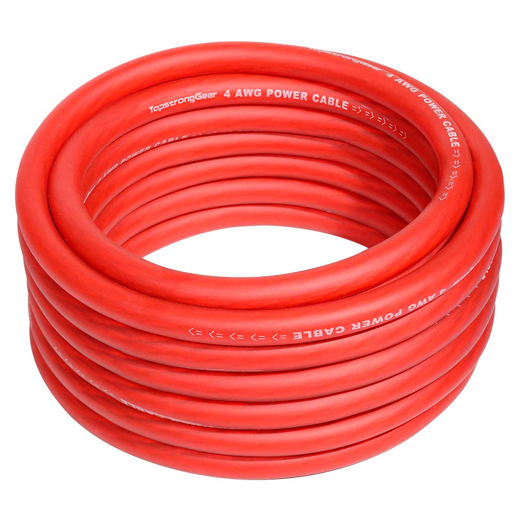 4 Gauge Red 25ft Power/Ground Wire True 4 AWG Power Wire-True Spec and Soft Touch Cable (Red)