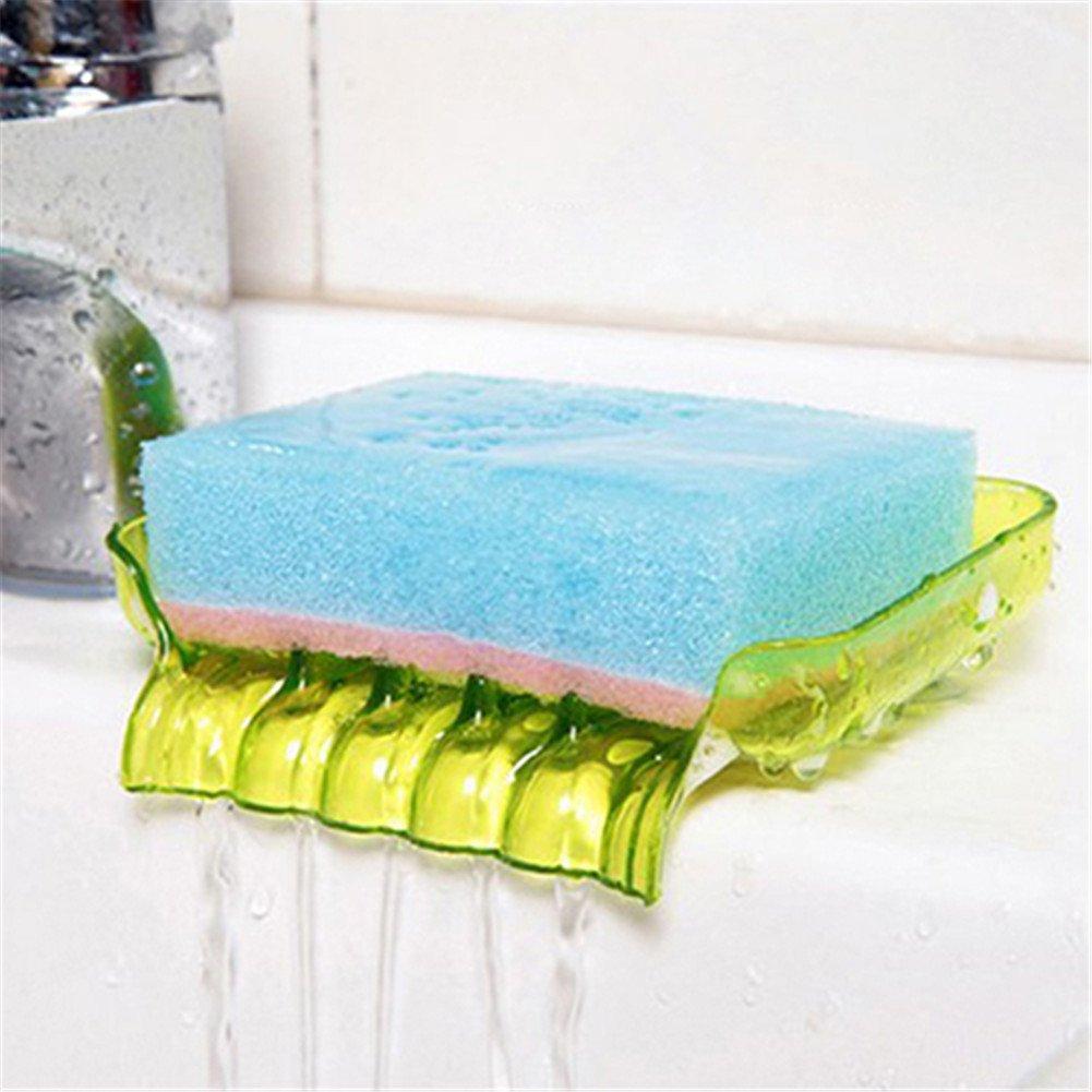 En plastique Avec canalisation en forme de cascade Porte savon ou porte-/éponge Gloryhonor salle de bain Green Taille unique Avec ventouses Pour cuisine