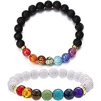 2 Packs Chakra Bracelet Lava Stone Diffuser Bracelet Adjustable Essential Oil Bracelet 7 Chakra Beads Energy Bracelet for Men/Women 8mm