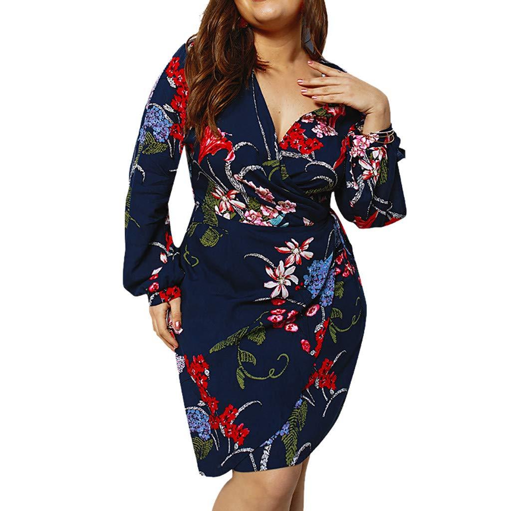 Makulas Womens Dresses Long Sleeve Elegant Floral Printed V Neck A Line Mini Dress Summer Dresses Beach Dress Sundress Navy