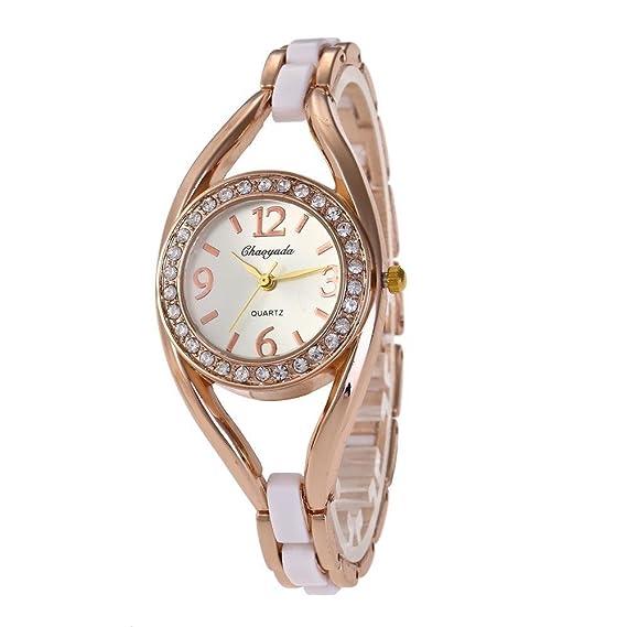 YAZILIND cuarzo reloj de pulsera con incrustaciones de diamantes de imitación gran reloj de titanio correa