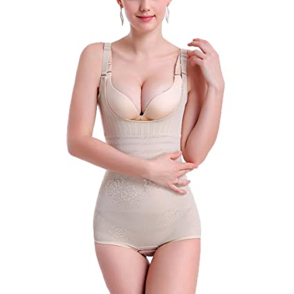 5a7c784626999 MuLuo Women s Full Body Shaper Waist Tummy Control Bodysuit U Shape Shapewear  skin color S