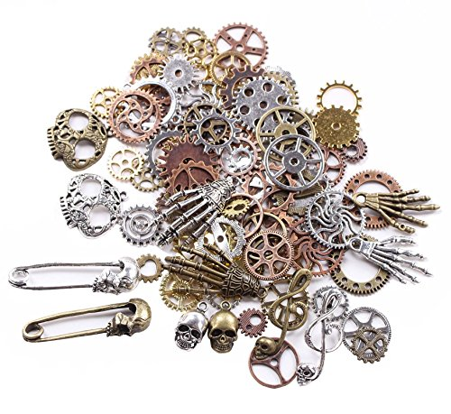 (BIHRTC 140 Gram (Approx 92pcs) DIY Assorted Color Antique Metal Steampunk Watch Gear Cog Wheel Skull Musical Note Skull Hand Safety Pin Charms Pendant for Crafting, Jewelry Making)