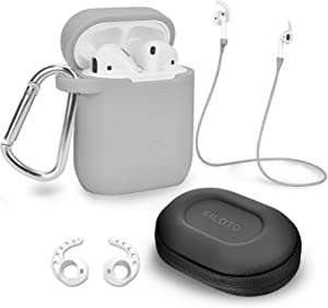 Case for Airpods Accessories Set, Filoto Airpod Silicone Case Cover with Keychain/Strap/Earhooks/Accessories Storage Travel Box for Apple Airpods 2&1, Best Gift for Your Air Pod (Gray)