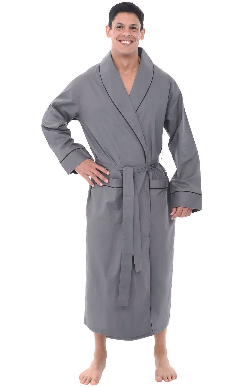 Alexander Del Rossa Mens Cotton Robe, Lightweight Woven Bathrobe, Large Steel Grey (A0715STLLG)