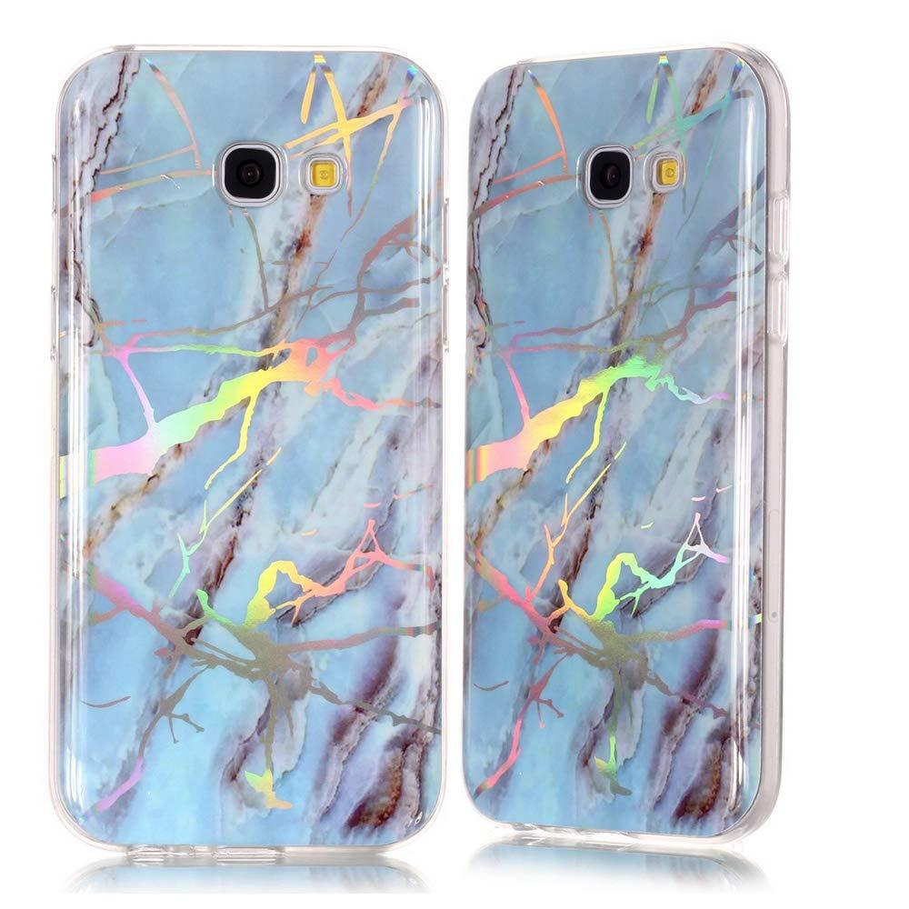 XINYIYI Coque pour Samsung Galaxy A3 2017, Ultra Mince Creative Coloré Silicone Gel TPU Bling Couverture en Marbre Glitter Antichoc Doux Case Etui de Protection (Donut Blanc Vert)