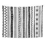 TOMPOP Tapestry Abstract Ethnic Orientation Black and White Tribal Aztec Motifs Home Decor Wall Hanging for Living Room Bedroom Dorm 60x80 Inches