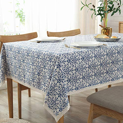 Sunm Boutique Washable Cotton Linen Vintage Navy Damask Pattern Decorative Macrame Lace Tablecloth (Ceramic, 55.1