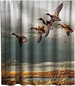 Final Friday Rustic Shower Curtains Wild Ducks Hunting Flying Theme Cloth Fabric Bathroom Decor Sets with Hooks Waterproof Washable 70 x 70 inches Brown and Teal
