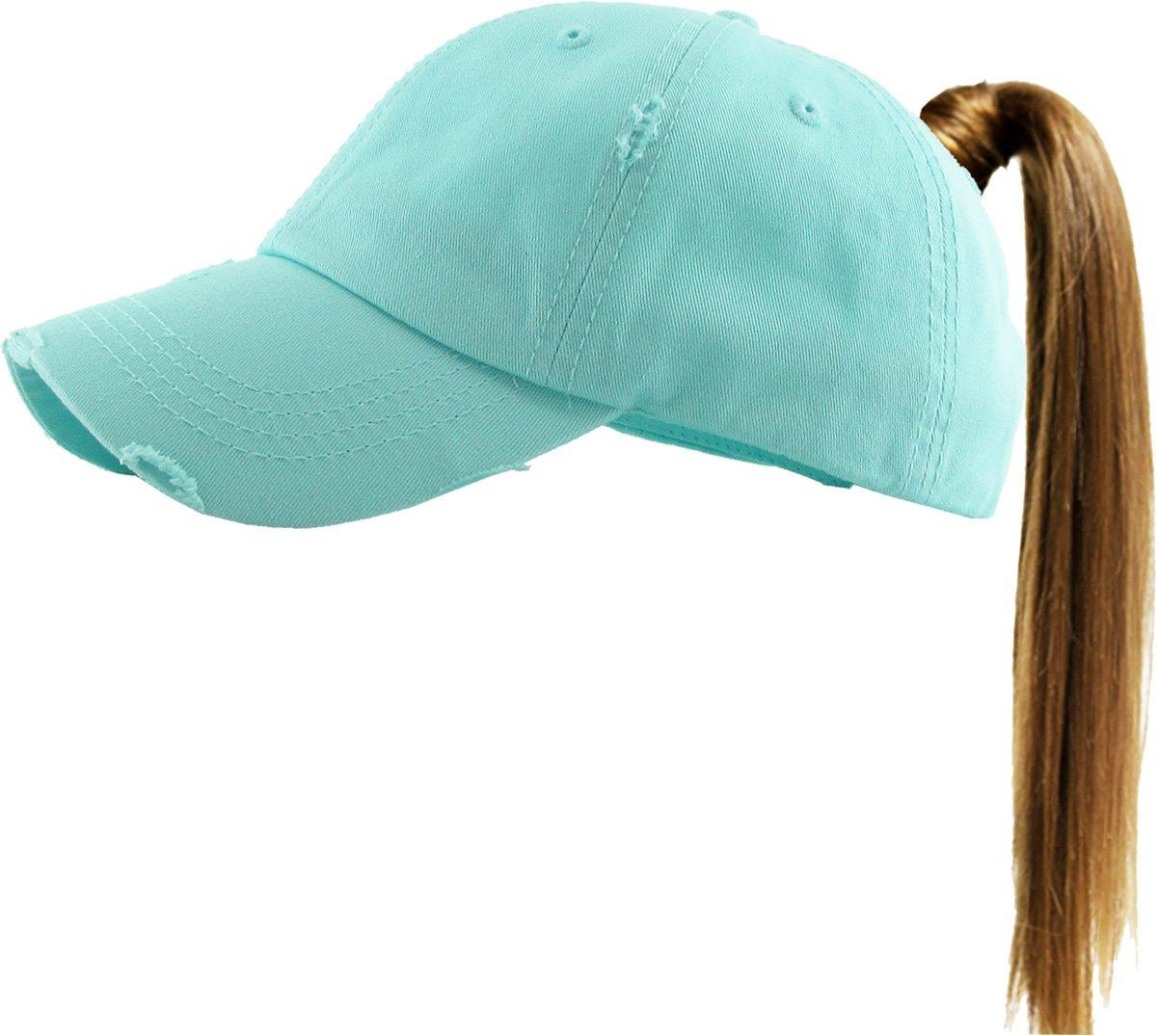 KBETHOS PONY-001 DBL Ponytail Messy High Bun Headwear Adjustable Cotton Trucker Mesh Hat Baseball Cap