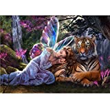 5D Diamond Painting Kit Full Drill DIY Rhinestone Embroidery Cross Stitch Arts Craft for Home Wall Decor Tiger and Goddess 12x16 inch