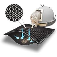 Pieviev Kattsandmatta, kattlåda, matta av stor storlek, dubbla lager, vaxkaka, design med stora hål, vattentätt EVA…