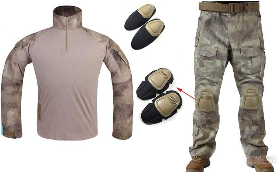 Los hombres del ejército militar Airsoft Paintball juego de guerra disparando Gen3 G3 táctica – Pantalones para uniforme de combate Camisa y pantalones traje con protección coderas y rodilleras camuflaje, Atacs: Amazon.es: