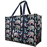 N. Gil Multi Purpose Carry All 24'' Mega Utility Tote Bag (Elephant Navy Blue)