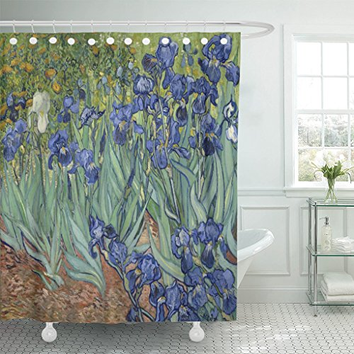 VaryHome Shower Curtain Irises By Vincent Van Gogh 1889 Dutch Post Impressionist Painting Oil on Canvas This in the Garden Waterproof Polyester Fabric 72 x 72 inches Set with ()