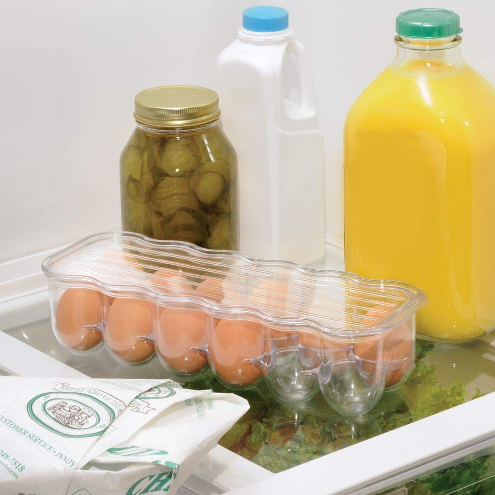 mDesign Egg Holder Tray for The Fridge Transparent//Clear Set of 2 Practical Egg Rack Made of Plastic Egg Container with Lid for 12 Eggs