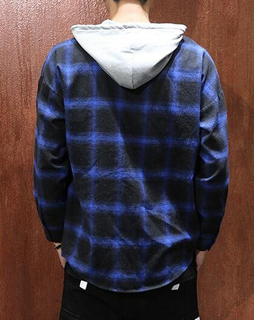 Fubotevic Mens Loose Casual Long Sleeve Plaid Hoodie Plus Size Button up Checkered Shirt