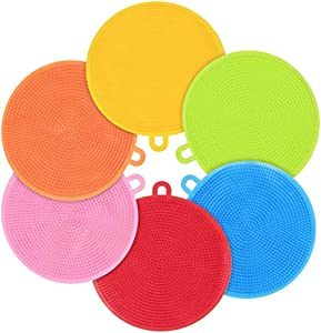 Binglinghua Silicone Dish Sponges 6 Pack Silicone Scrubber Food Grade Reusable Dish Washing Sponges for Dishes, Heat Resistant and Without BPA, 50g/pcs Randomly Color