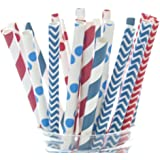 4th of July Straws - Independence Day Flag USA Red, White & Blue Paper Party Straws (25 Pack) - America Patriotic BBQ Supplies