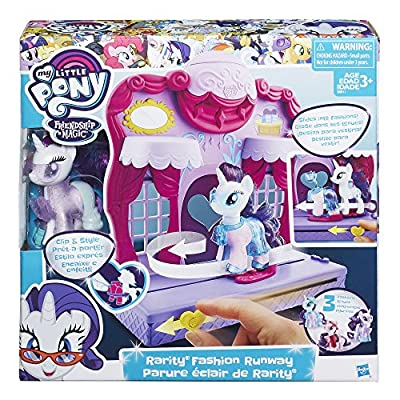 My Little Pony Friendship is Magic Rarity Fashion Runway Playset - Fun My Little Pony Toys Set - Slide Rarity into a Glamorous Outfit to Have Her Strut Up and Down the Catwalk in Style: Toys & Games
