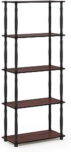 Furinno Turn-N-Tube 5-Tier Multipurpose Shelf Display Rack, Classic, Dark Cherry/Black
