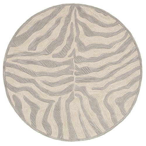 Trade AM LR02510-TA3RND Fashion Round Abstract Area Rug, 3 by 3-Feet, Taupe/Silver - Round Zebra Print Rug