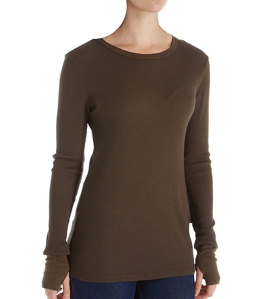 Michael Stars Thermal Long Sleeve Raw Edge Crew Neck (1402) O/S/Loden