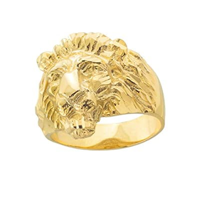 0135290ba Fine 10k Yellow Gold Textured Band Lion Head Ring for Men Amazon.com