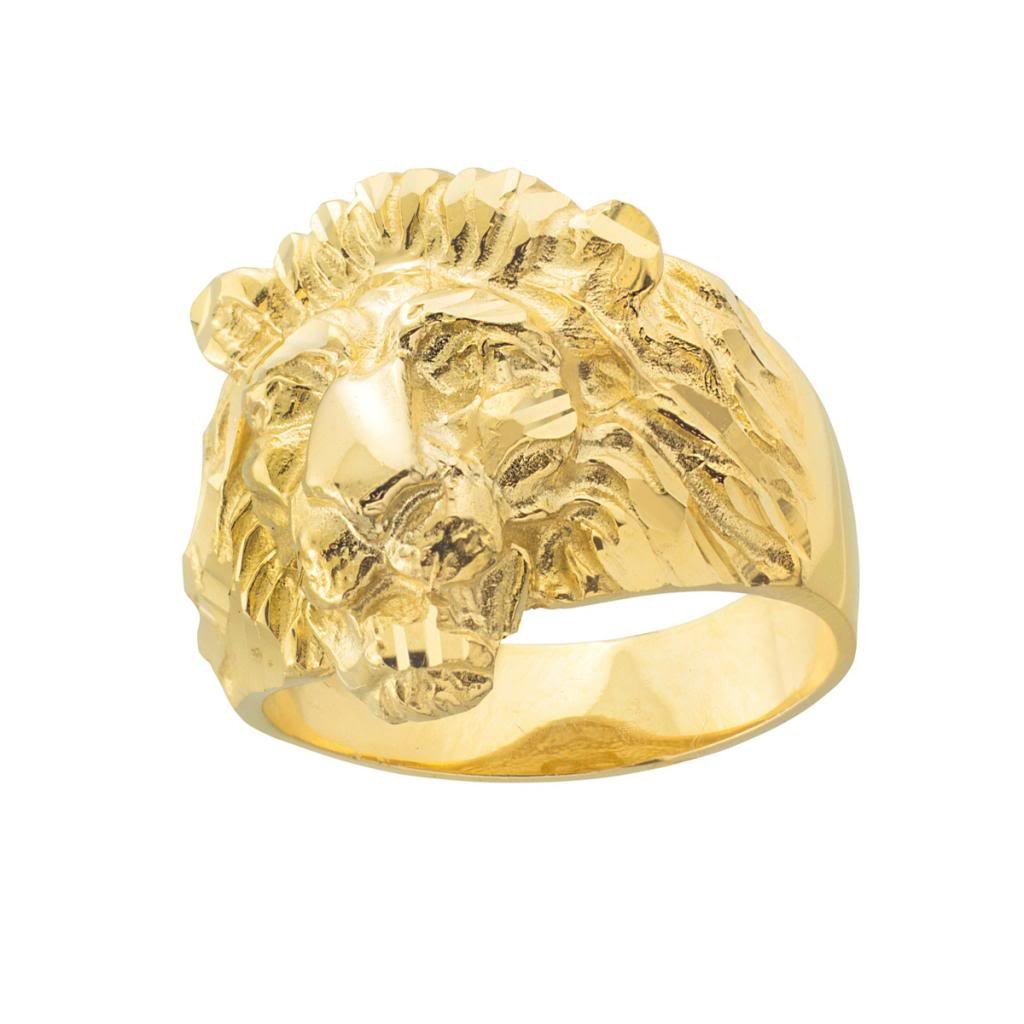 Fine 10k Yellow Gold Textured Band Lion Head Ring for Men (Size 16)