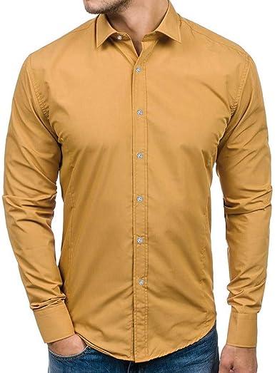 Camisa para Hombres Transpirable Manga Larga Color Sólido Slim Fit Formales/Casual Camisas Negocios Clásico Bambú Fibra Camisa Tops Blusa para Hombres, 8 Tamaños 5 Colores Gusspower: Amazon.es: Ropa y accesorios