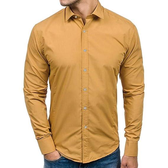 817baf331e3 Camisa para Hombres Transpirable Manga Larga Color Sólido Slim Fit Formales/Casual  Camisas Negocios Clásico