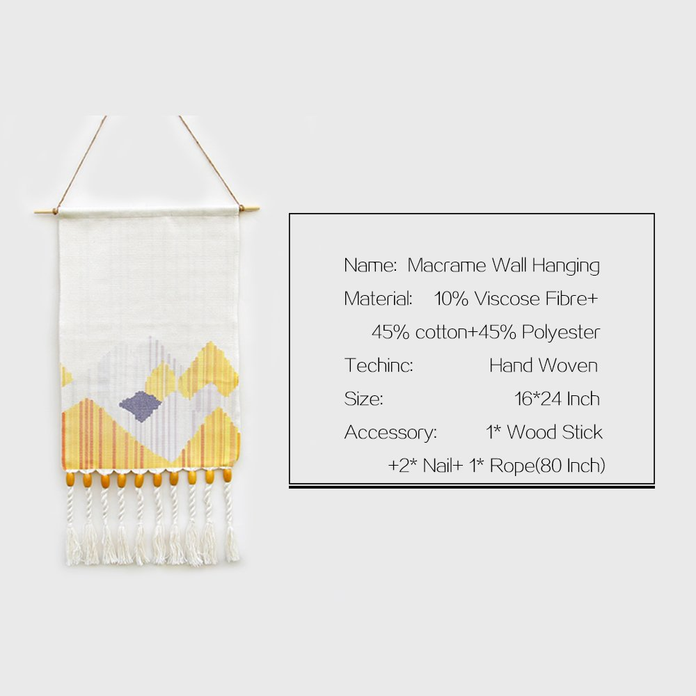 KLOLKUTTA Macrame Wall Hanging Woven, Hand Woven Tapestry Pendant Macrame Tapestry Aztec Boho Chic Bohemian Home Geometric Wall Art Decor Beautiful Apartment Dorm Room Decoration
