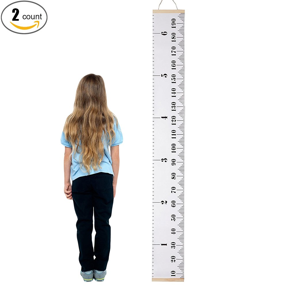 Finebaby Baby Height Growth Chart Hanging Rulers Kids Room Wall Wood Frame Fabric Ruler Room Decoration 79''x7.9''