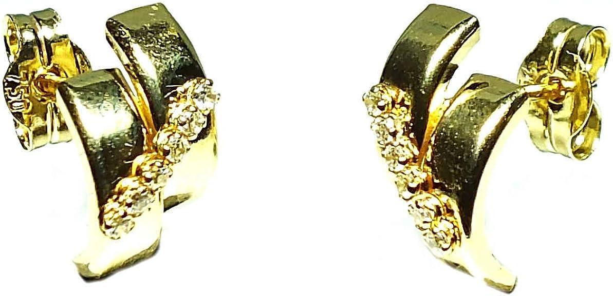 Pendientes oro 18k, mujer, modelo bandas de oro y banda de piedras con cierre de presión de alta calidad