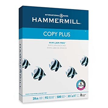 92 Brightness Hammermill Copy Plus Multipurpose//Fax//Laser//Inkjet Printer Paper 105007 20 lb Letter Size Acid Free 500 Total Sheets Ream 8.5 x 11