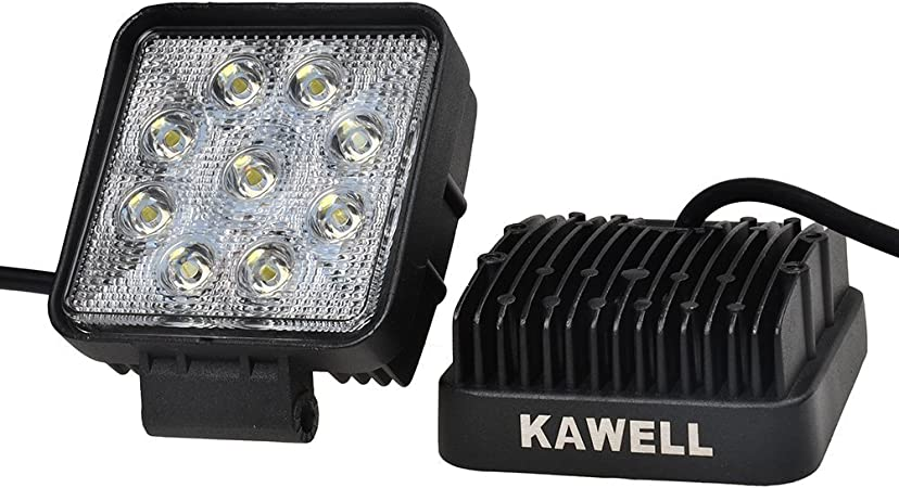 KAWELL/®48W 4.3 Square TractorThick Type Flood Beam Led Work Light for ATV//Jeep//Boat//SUV//Truck//car//atvs Light Off Road Waterproof Led Flood Work Light 2 Pack