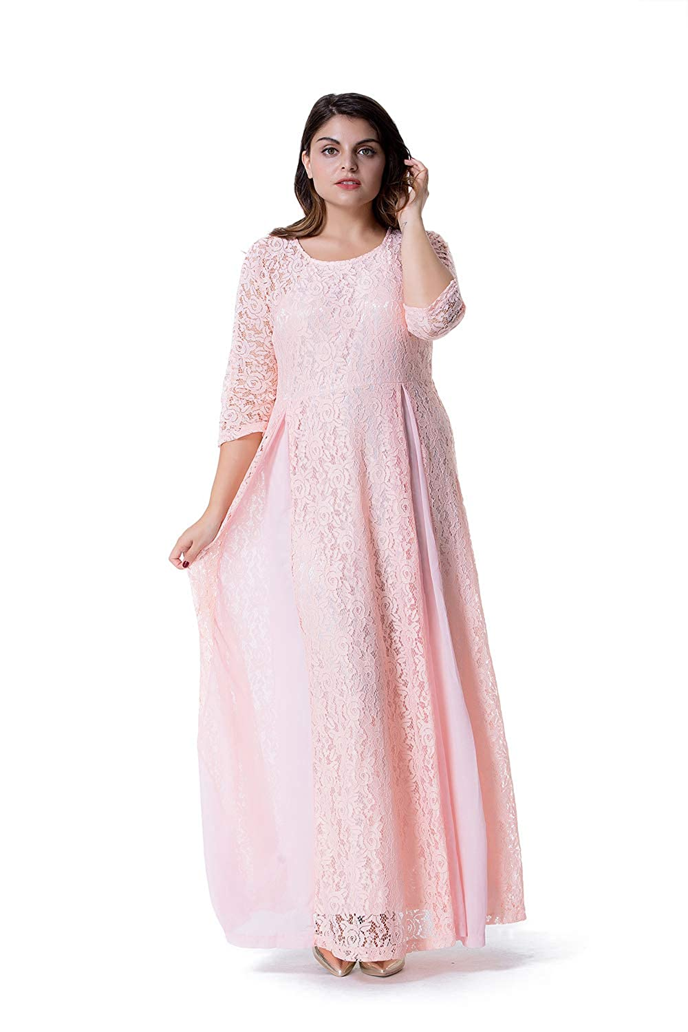GMHO Women\'s Plus Size 3/4 Sleeve Lace Maxi Bridesmaid Dress Gown