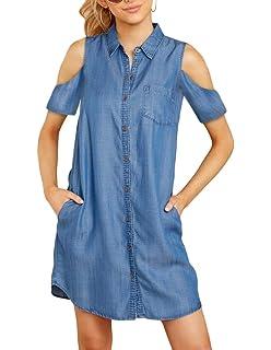34598615c8b Daomumen Womens Sleeveless Jean Dress Button Down Collar Blue Denim  Boyfriend Shirts Dresses with Pockets