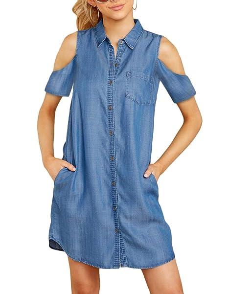 d0cd406bf50 Daomumen Womens Sleeveless Jean Dress Button Down Collar Blue Denim  Boyfriend Shirts Dresses with Pockets at Amazon Women's Clothing store: