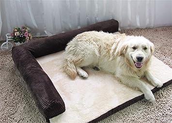 elvnx - Cama Grande para Perro o Gato, cojín para Perros Grandes, Gatos, arenero de Cachorro, caseta para Mascotas, café, 90x75x17cm: Amazon.es: Hogar