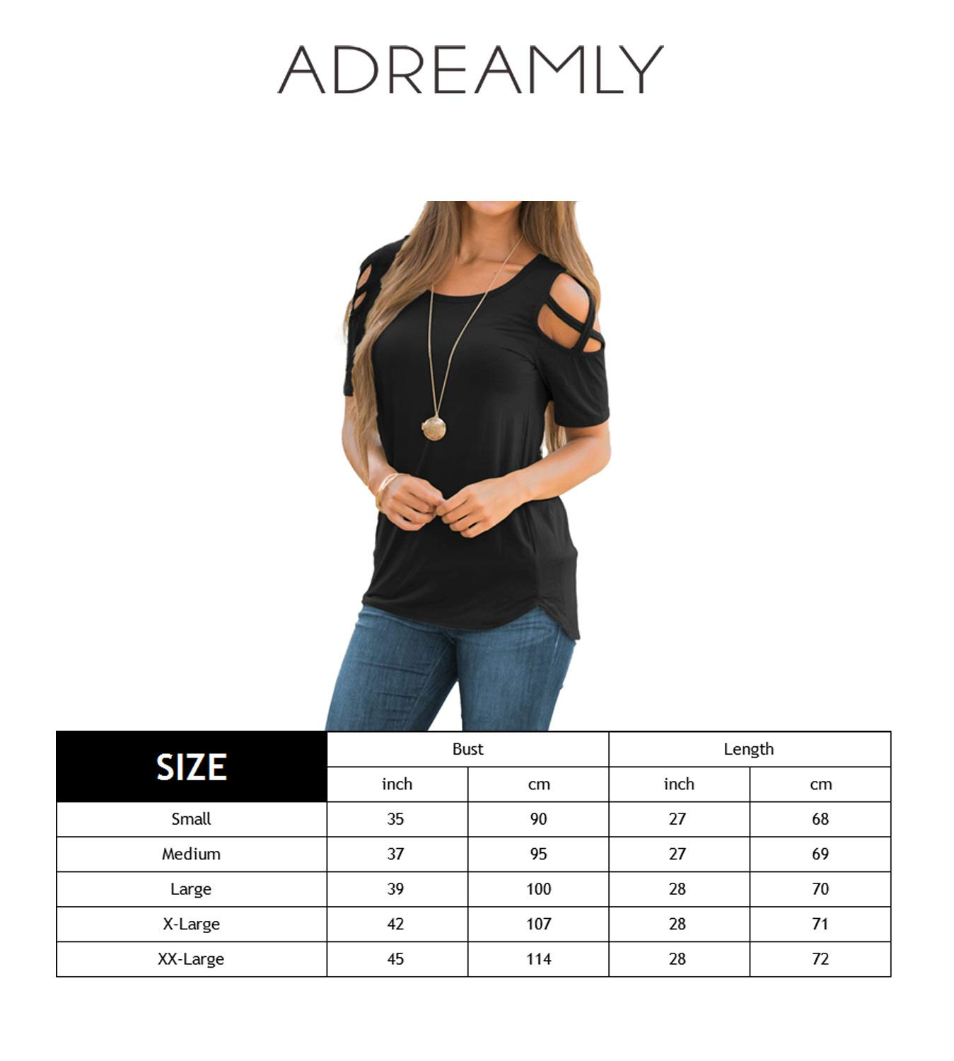 Adreamly Women's Casual Summer Short Sleeve Loose Strappy Cold Shoulder Tops Basic T Shirts Blouses Black Medium by Adreamly (Image #3)